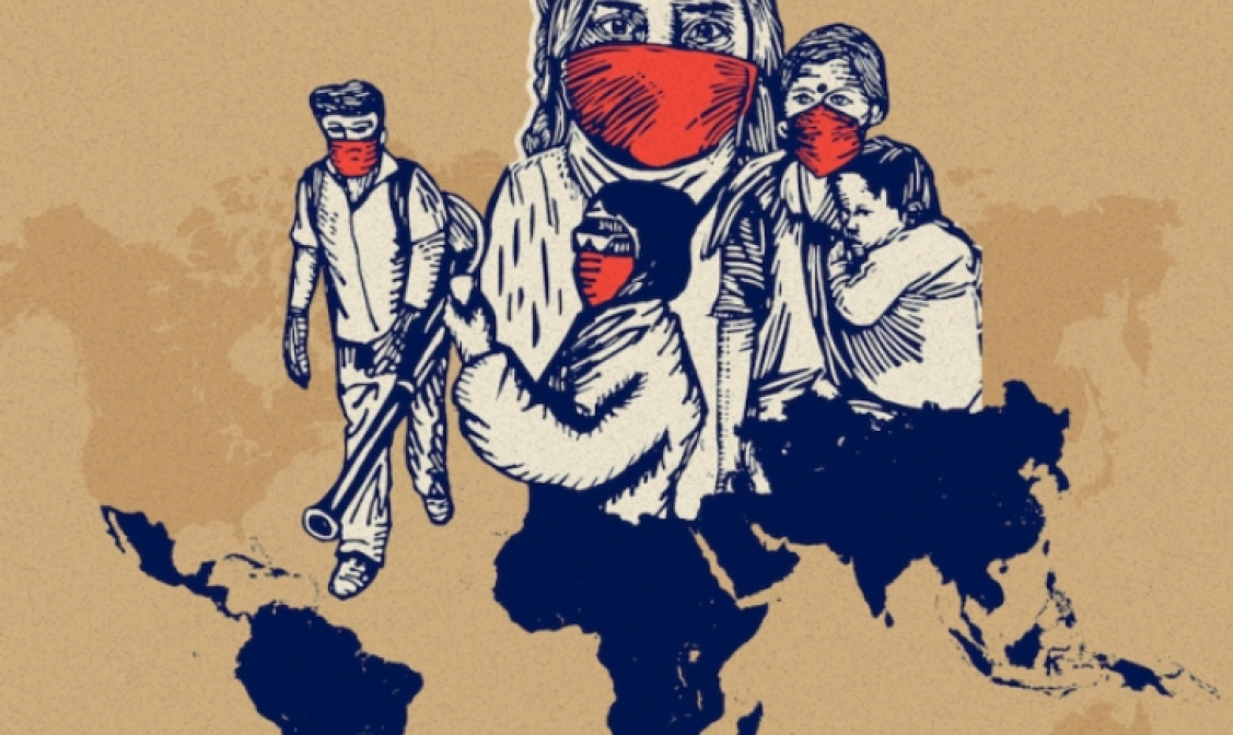 Illustration of a face masked people, some working and others holding each other.