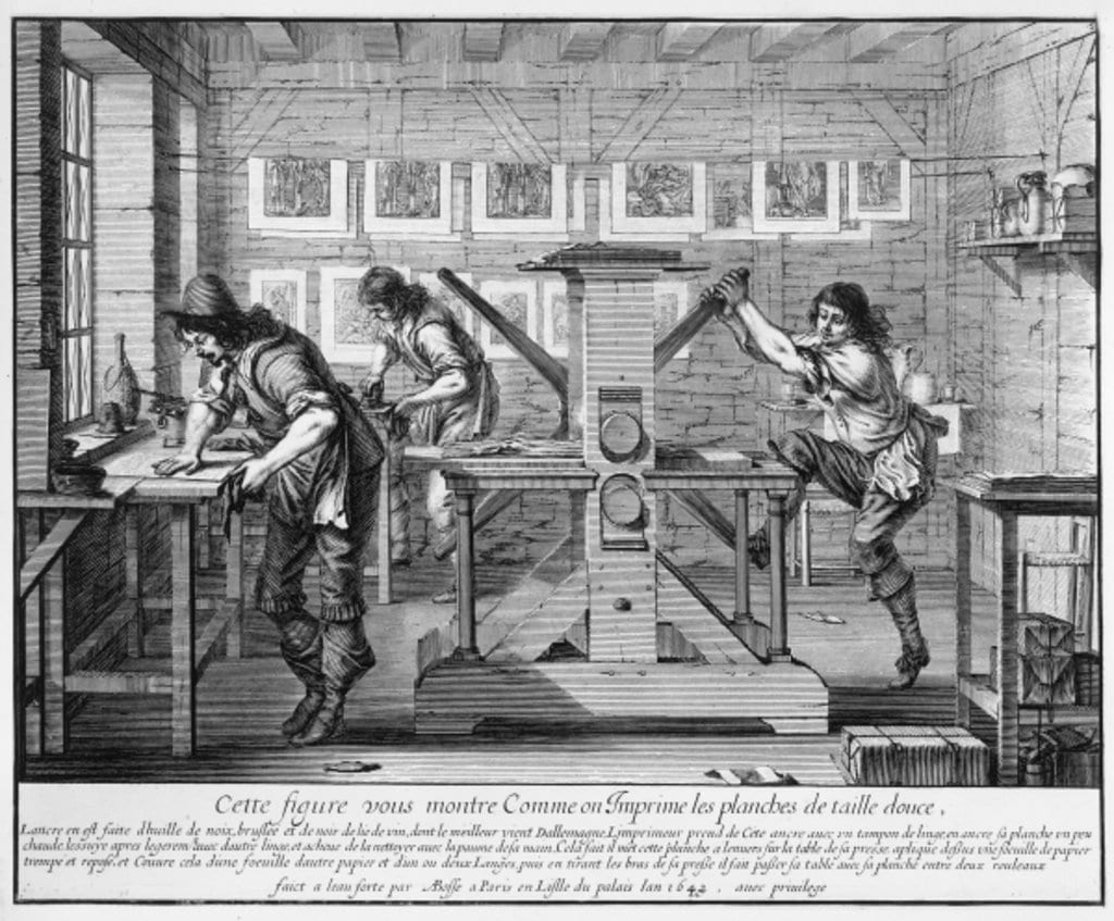 Sketch of early printing press and its operators