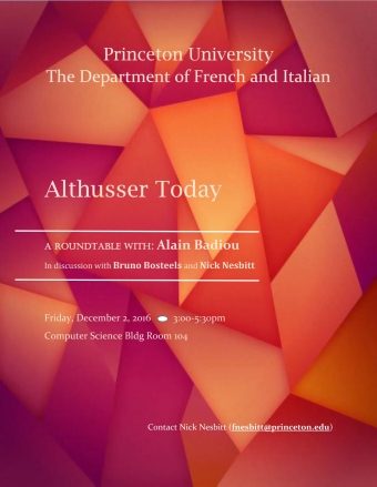 Poster for: Althusser Today
