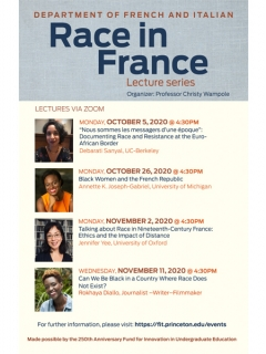 Race in France Lecture Series Poster