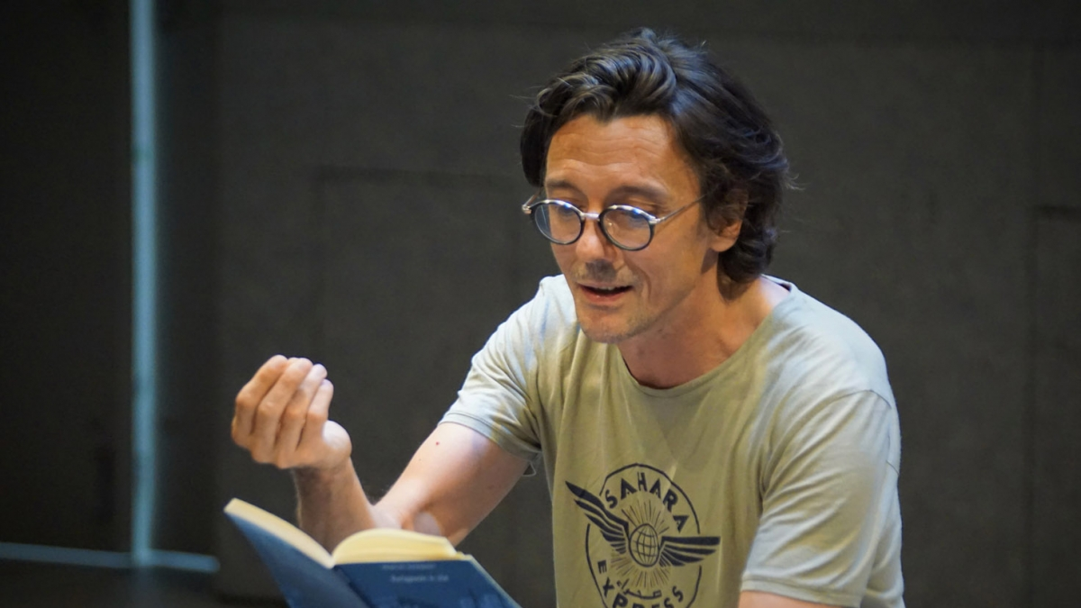 "French actor and director Stanislas Nordey reading ""Avignon à vie"" by Pascal Rambert, Hearst Theater Lewis Center for the Arts, Seuls en Scène 2019"
