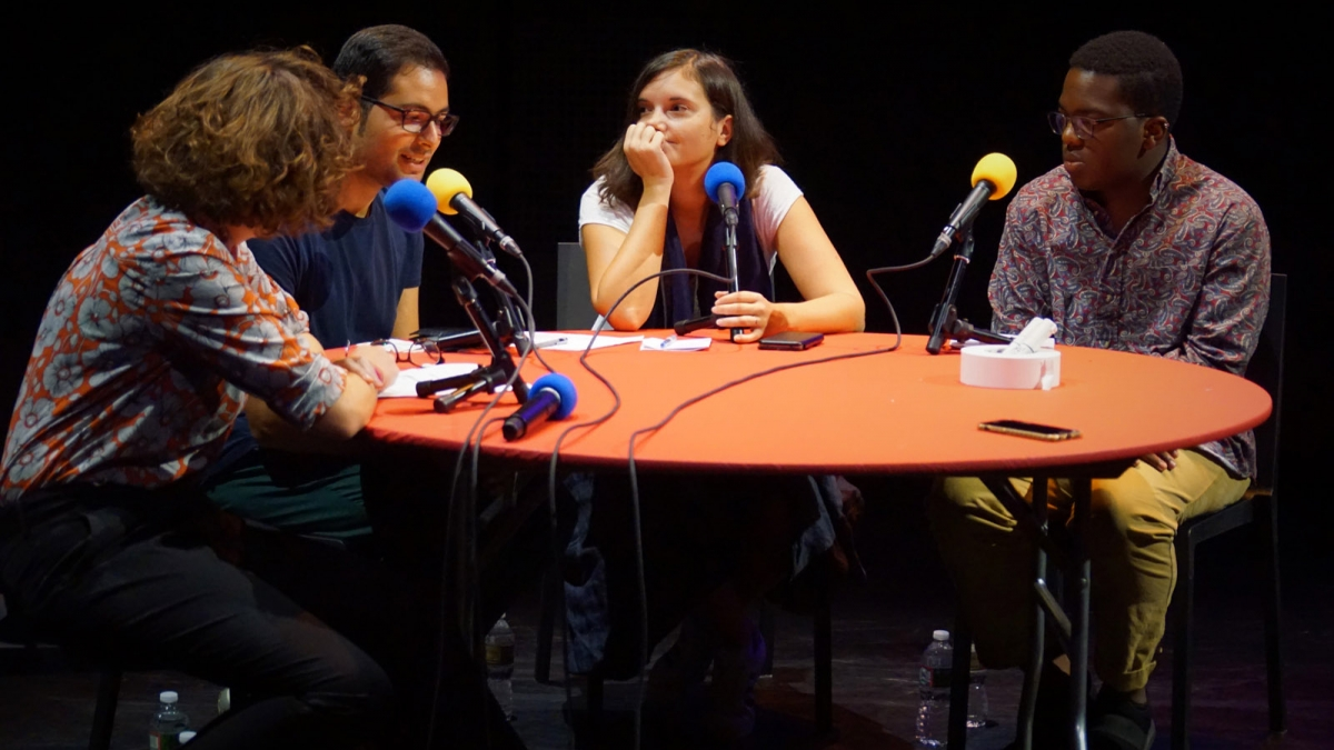 The cast of Radio Live at the Wallace Theater of the Lewis Center for the Arts, Seuls en Scène festival 2019: Caroline Gillet, Amir Hassan, Inès Tanovic and Jonathan Haynes 20